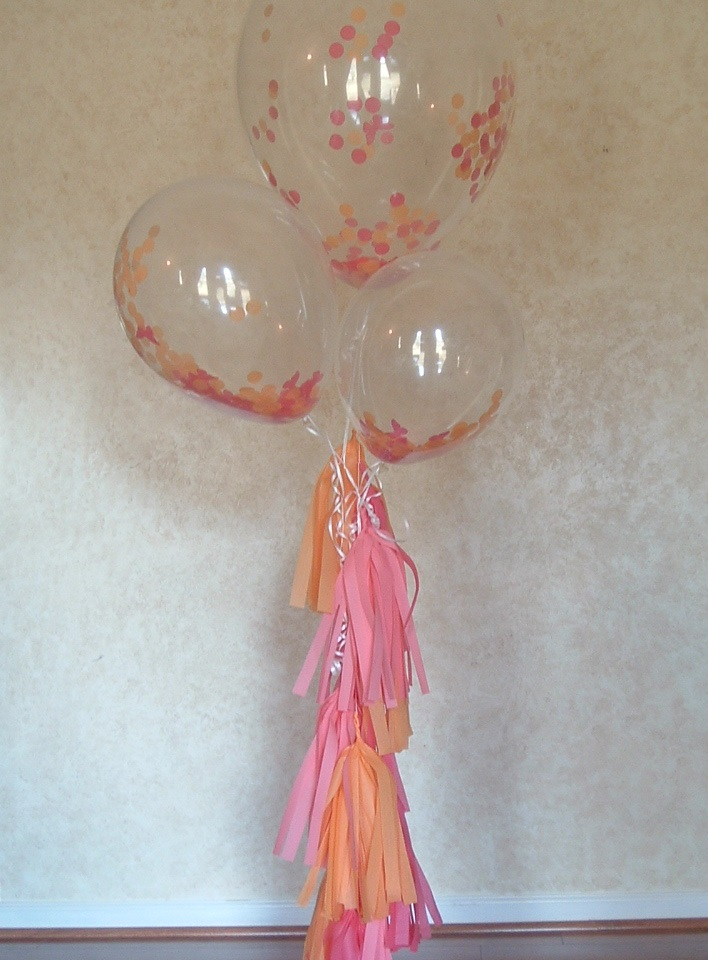 1 Set of 3 Clear balloons filled w/ confetti. 1 Yard of Tissue paper tassel.